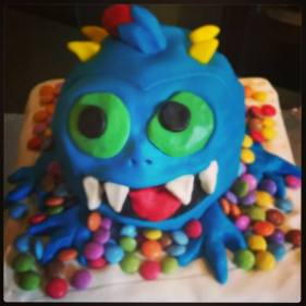 Cookie monster on smarties cake